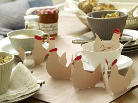 Colazione di Pasqua  con i bimbi e le piccole gallinelle in carta