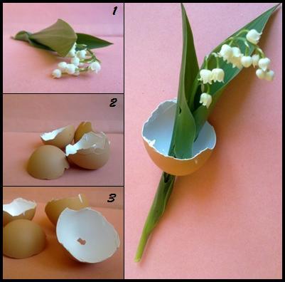 Un altro modo di decorare i gusci con fiori