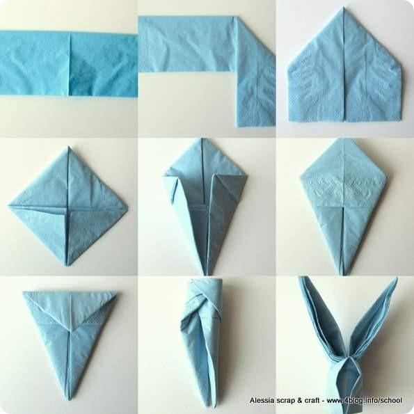 Ecco come realizzare un coniglietto segnaposto, potete utilizzare tovaglioli in carta o stoffa